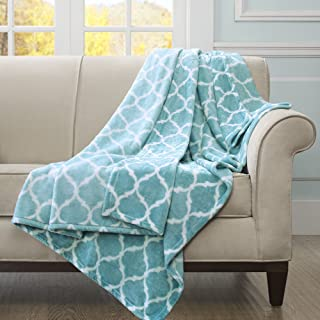 Madison Park Ogee Luxury Oversized Throw Aqua 6070 Premium Soft Cozy Microlight For Bed, Coach or Sofa