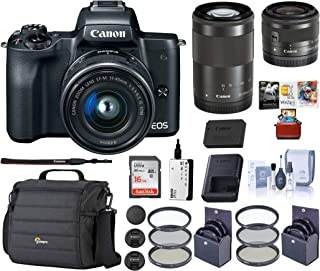 Canon EOS M50 Mirrorless Camera (Black) Bundle Kit | EF-M 15-45mm f/3.5-6.3 + EF-M 55-200mm f/4.5-6.3IS STM Lenses + Camera Case + 16GB SD Card + 49/52mm Filter Kits + Mac Software and Accessories