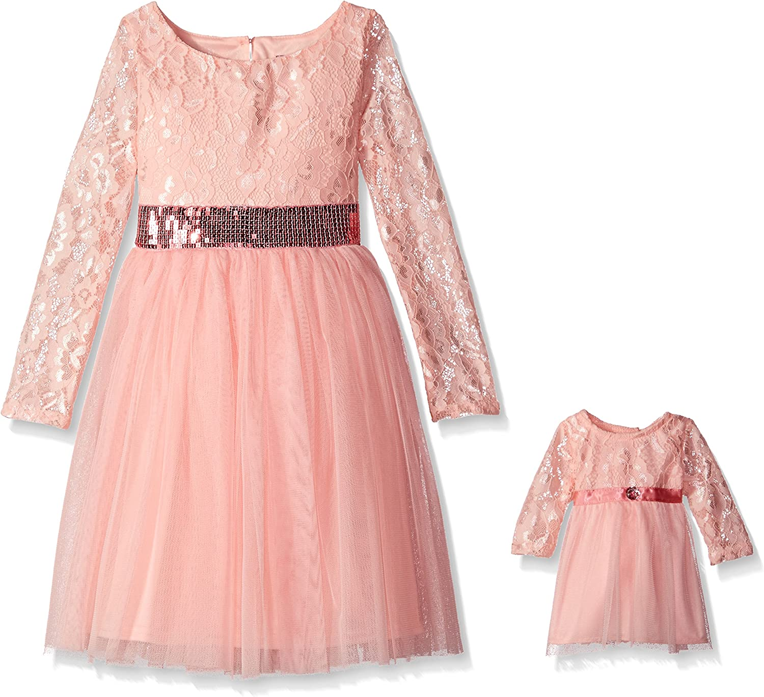 Dollie & Me Girls' Little Lace Bodice Dress with Tulle Skirt