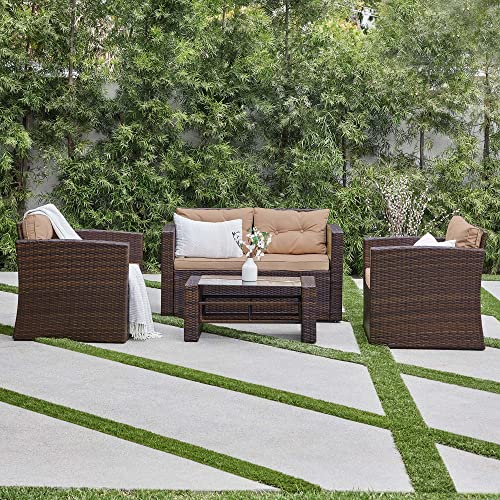 popular BELLEZE 4pc Wicker Outdoor Deep Seating Patio Set Furniture popular Cushioned Seats UV Water Resistant high quality with Table, Brown outlet sale