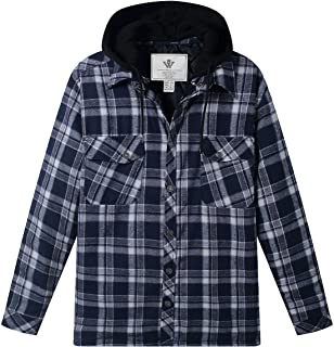 WenVen Men`s Thicken Plaid Flannel Quilted Shirts Jacket with Removable Hood