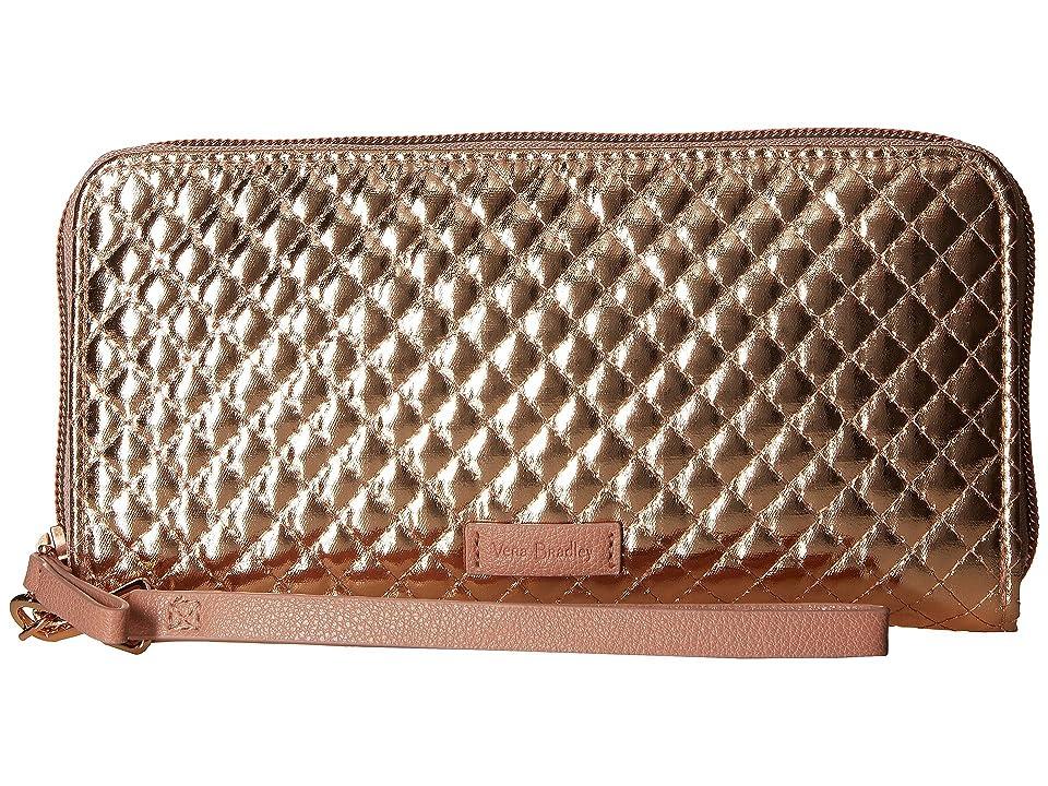 Vera Bradley Iconic RFID Accordion Wristlet (Rose Gold Shimmer) Wristlet Handbags