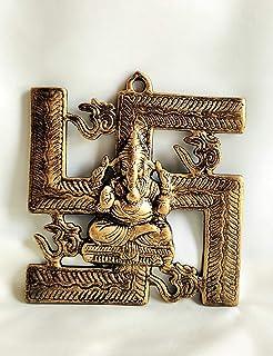 Akriti Brass Metal Lord Ganesha Swastik SM, Ganesh Wall Hanging for Entrance Door, Living Room, Decorative Wall décor; Met...