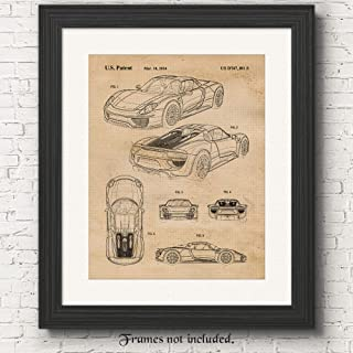 Original Porsche 918 Patent Poster Prints, Set of 1 (11x14) Unframed Photo, Great Wall Art Decor Gifts Under 15 for Home, Office, Garage, Man Cave, College Student, Teacher, Germany Cars & Coffee Fan