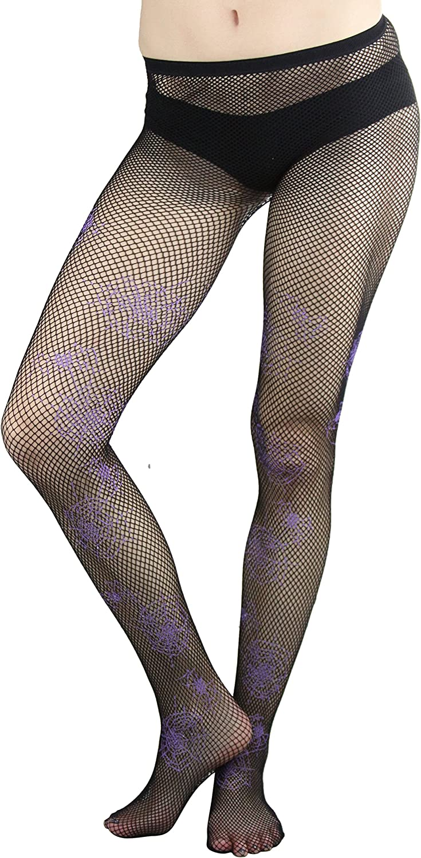 ToBeInStyle Women's Fishnet Spider Web Print Pantyhose