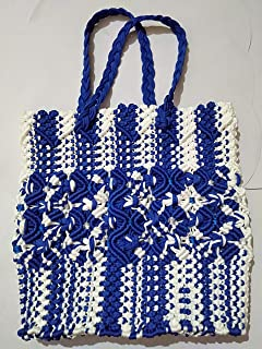 Maccraft Handmade Designing Washable Long life HAND BAG/STORAGE PURSE/LARGE TOTE For Women (blue and white) With Macrame Work
