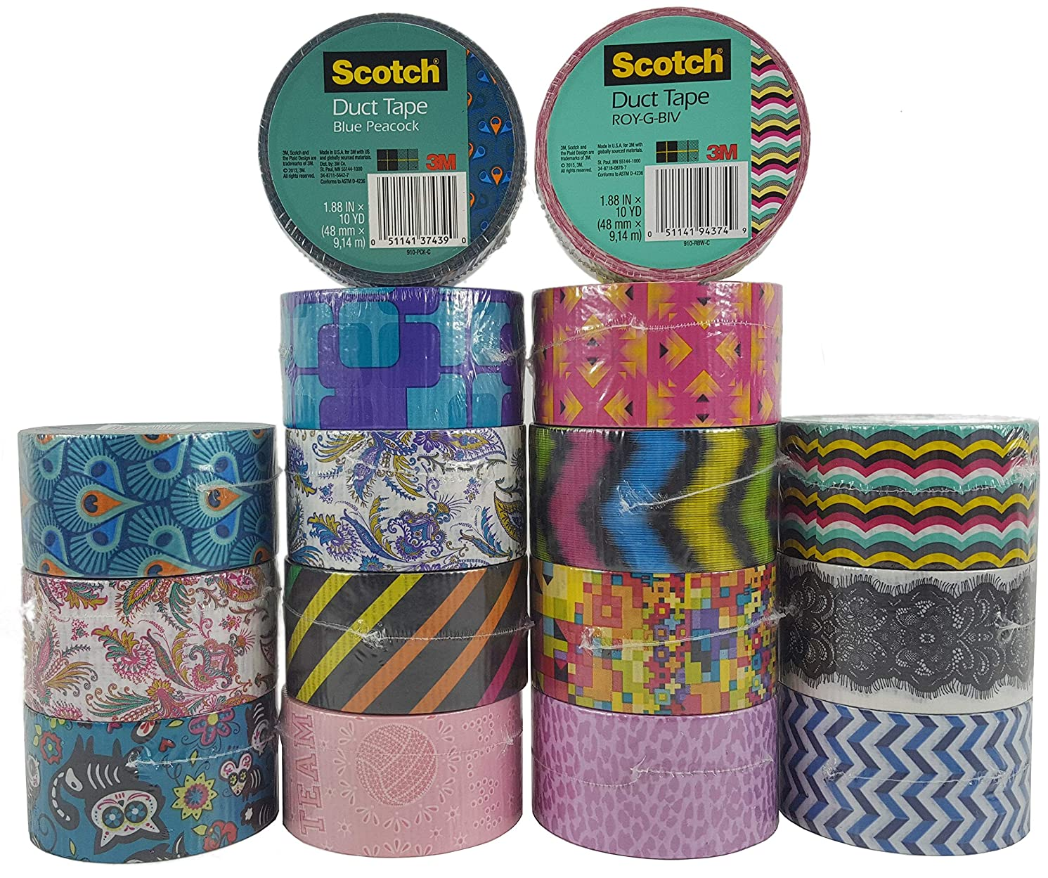Scotch Brand Duct Tape Set (16 Assorted Rolls) Colored Duct Tape Variety Pack, Duct Tape Bulk Lot for Duct Tape Designs, DIY Crafts