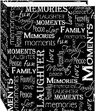 Álbum de fotos autoadesivo magnético com 3 anéis 100 páginas (50 folhas), design de palavras em preto e branco