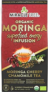 Miracle Tree's Energizing Moringa Infusion - Cherry Chamomile Tea   Super Caffeinated Blend   Healthy Coffee Alternative, Perfect for Focus   Organic Certified & Non-GMO   16 Pyramid Sachets