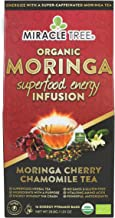 Miracle Tree's Energizing Moringa Infusion - Cherry Chamomile Tea | Super Caffeinated Blend | Healthy Coffee Alternative, Perfect for Focus | Organic Certified & Non-GMO | 16 Pyramid Sachets