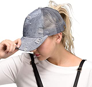 Hatsandscarf C.C Exclusives Messy Buns Damaged Denim Fabric with Ponytail Baseball Cap (BT-8)