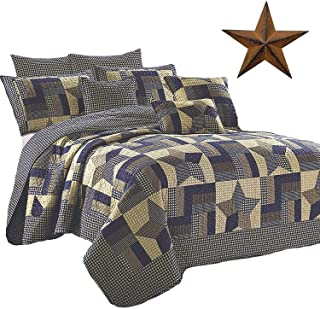 Rustic Blue and Brown Farmhouse Primitive Woodland Star 3pc King Size Quilt Setm + BROWN BARN STAR
