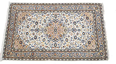 Handmade Persian Rug Kashan design made of special Wool material, size 150cm x 248cm, Cream Ivory Blue Orange colour made in