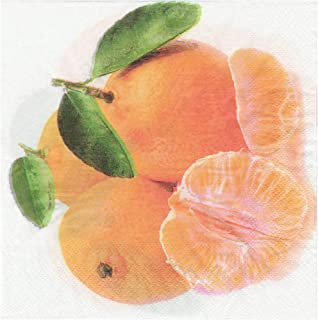 Salome Idea 60 Count Fruit Disposable Napkins for a Wedding or Tea Party,Fruit Napkins(A Orange)