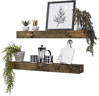 Del Hutson Designs Artisan Haute Wooden Boxed Floating Mantle Shelves (Dark Walnut, 36 Inch / 3 FT)
