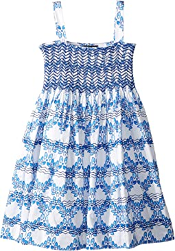 Cotton Leaf Grid Smocked Dress (Toddler/Little Kids/Big Kids)