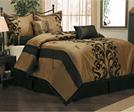 7 Piece Elegant Damask Floral Design Comforter Set Queen Size, Featuring Luxurious Chic Classy Jacquard Paisley Persian Ruched Themed, Contemporary Rich High End Premium Bedding, Black, Tan