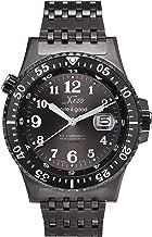 Xezo Air Commando Japanese-Automatic Diver's Pilots Gun-Metal Watch. Ruthenium Sunburst Dial. 2nd Time Zone. 300 M WR
