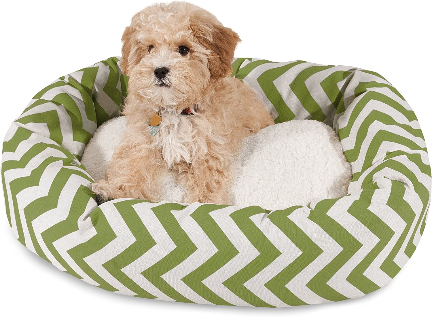 Majestic Pet 24 inch Sage Chevron Sherpa Bagel Dog Bed