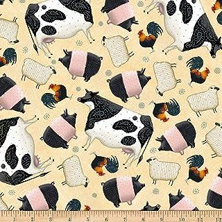 QT Fabrics Digital Down On The Farm Tossed Farm Animals Cream Fabric by the Yard