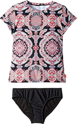 Indian Chintz Short Sleeve Surf Set (Little Kids/Big Kids)