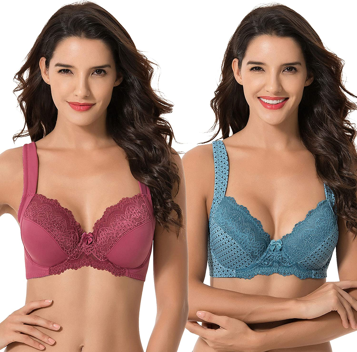 Curve Muse Women's Plus Size Unlined Underwire Lace Bra with Cushion Straps-2PK