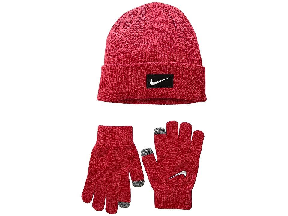 Nike Kids Chrome Swoosh Beanie Gloves Set (Big Kids) (University Red/Metallic Silver) Beanies