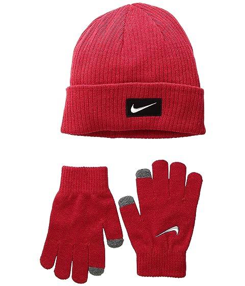 7a5bb6f72a9 Nike Kids Chrome Swoosh Beanie Gloves Set (Big Kids) at Zappos.com