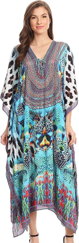 Sakkas Imani V-Neck Silky Lightweight Colorful Flowy Rhinestone Kaftan//Cover Up
