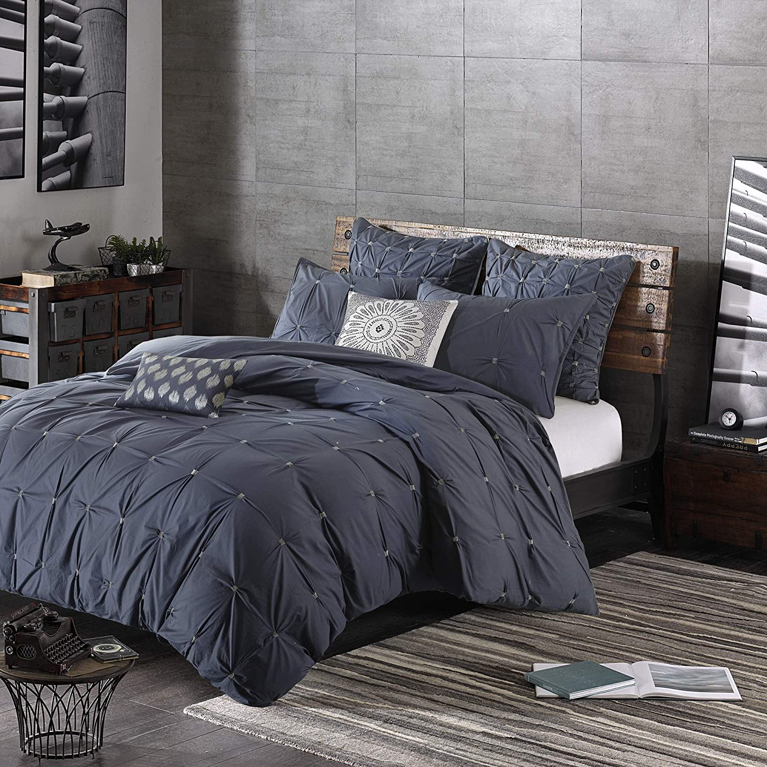 Ink+Ivy Masie Duvet Cover Full Queen Size - Navy, Elastic Embroidery Tufted Ruffles Duvet Cover Set – 3 Piece – 100% Cotton Percale Light Weight Bed Comforter Covers