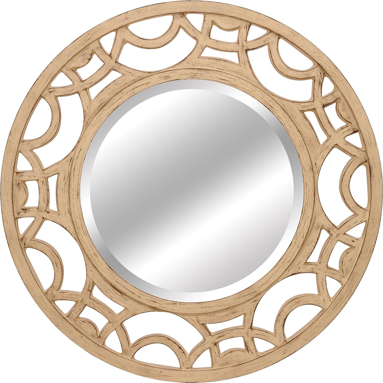 Lofty Ardant Antique Mirror, 34 by 34-Inch, White