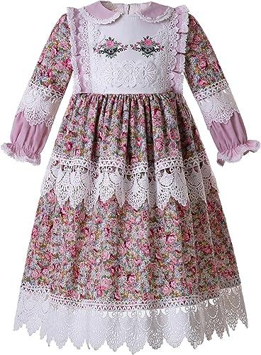 Ju petitpop Lajinirr Robe de théière pour Fille Motif Floral Marguerite avec Serre-tête