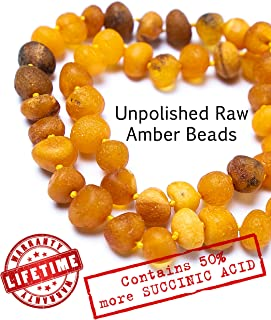 Baltic Amber Teething Necklace for Babies - UNPOLISHED Organic Raw Amber Beads - Baby Teething Necklace For Boys And Girls - Anti Inflammatory Drooling And Baby Teething Relief - GIA Certified