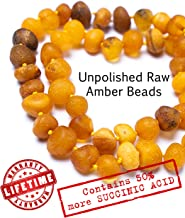 RAW Baltic Amber Teething Necklace for Babies - UNPOLISHED Organic Raw Amber Beads - Baby Teething Necklace For Boys And Girls - Anti Inflammatory Drooling And Baby Teething Relief - GIA Certified