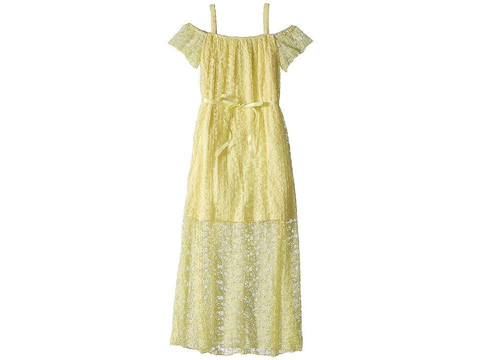 Us Angels Pleated Lace Maxi Dress (Big Kids) (Yellow) Girl