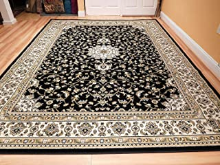Traditional Isfahan Persian Style 5x8 Area Rug Black Cream 5x7 Rugs for Living Rooms Floor Carpet