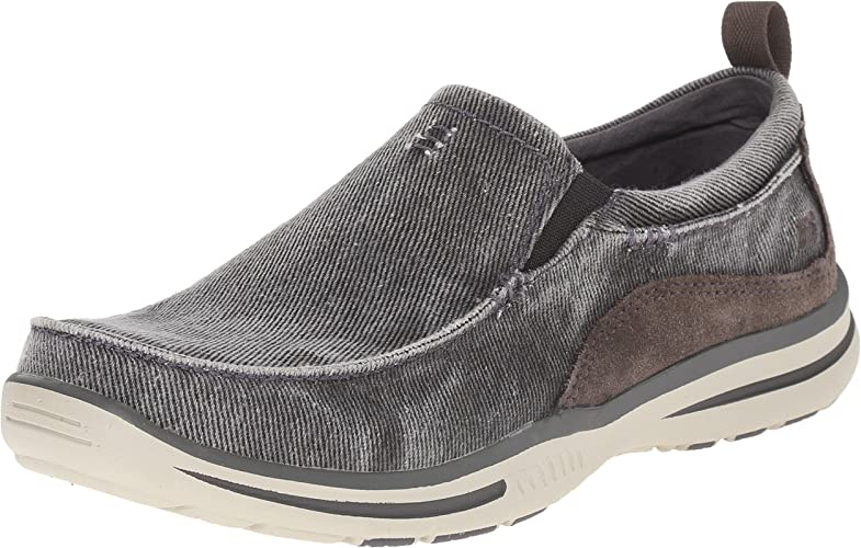 Skechers USA Hommes's Elected Drigo Slip-on Loafer, Charcoal, 9.5 3E US
