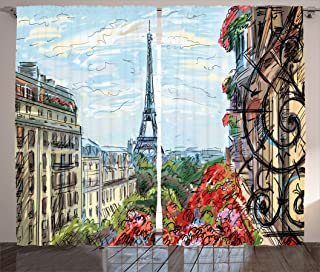 Ambesonne Paris City Decor Collection, Street in Paris Town Traffic Trees Downtown Urban Life Exterior Monument Scene Print, Living Room Bedroom Curtain 2 Panels Set, 108 X 84 Inches, Red Green Blue