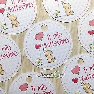 Bigliettini Battesimo Stampati per bomboniera, a partire da 20 pezzi, 3 centimetri, rotondo, etichette, cartellini rosa, n...