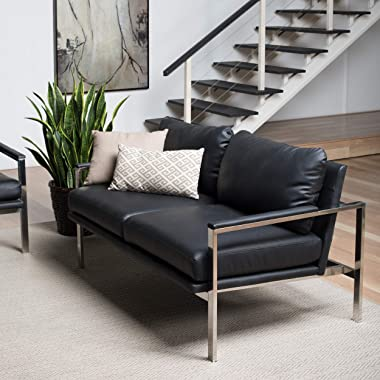 "Studio Designs Home Black Lintel Modern Bonded Leather Loveseat Chrome 72030, 57.5"" W x 32"" D x 33"" H"