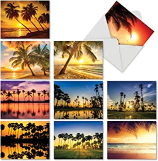 10 Gratitude and Thank You Cards with Envelopes 4 x 5.12 inch, Beautiful 'Palm Beaches' Stationery Set for All Occasions, Say Thanks for Weddings, Baby Showers, Thanksgiving M6457TYG