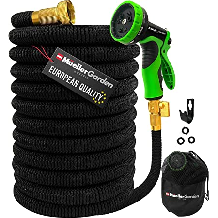 """Mueller Heavy Duty Expandable Garden Hose 50 FT, Heavy Duty, Lightweight, Drinking Water Safe, 3/4"""" Solid Brass Fittings, Automatically Expands and Self-Drains, Kink and Tangle Resistant"""
