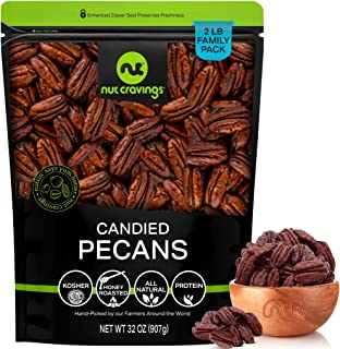 Georgia Pecans, Honey Glazed Candied Praline, No Shell, (32oz - 2 Pound) Packed Fresh in Resealable Bag - Nut Mix Snack - ...
