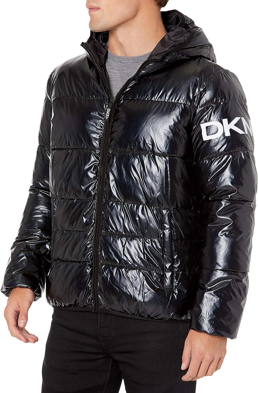 DKNY Men's Limited price Water Resistant Ultra Puffer Loft Boston Mall Hooded Logo Jacket