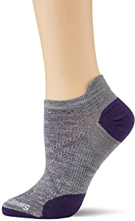 Women's PhD Run Micro Ultra Light Merino Wool Socks, White-Light Gray, Large