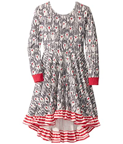 Rock Your Baby Unicorn Love Long Sleeve Waisted Dress (Toddler/Little Kids/Big Kids) (Cream) Girl