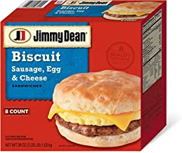 Jimmy Dean, Biscuit Sausage, Egg and Cheese, 8 ct (Frozen)