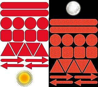 Biomar Labs® Reflektoren Reflektierende Aufkleber Reflexfolie Rot Stickers Set (19 Stück) Selbstklebende Reflektierende Reflektor Sicherheitsaufkleber D 19