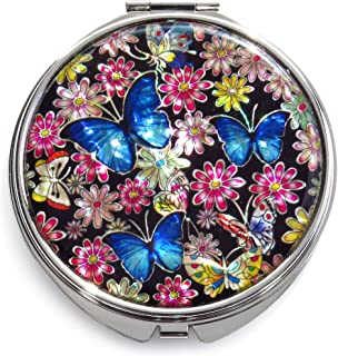Seoul Craft Blue Makeup Mirror Mother of Pearl Metal Dual Compact Folding Magnify Flowers Butterfly Design