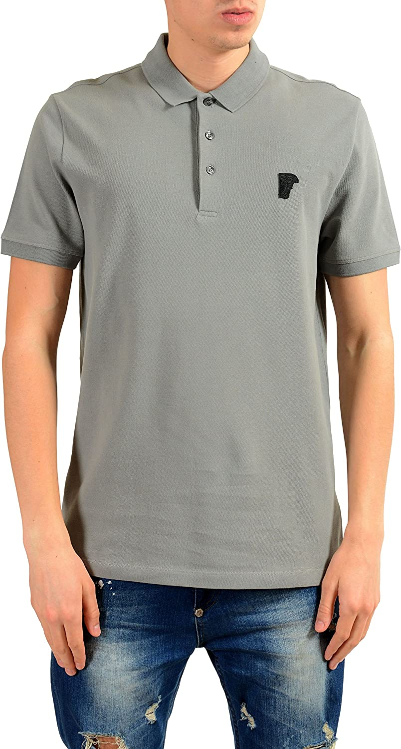 Versace Collection Men's depot Gray Short Sleeve Shirt IT S US 48 Fashionable Polo